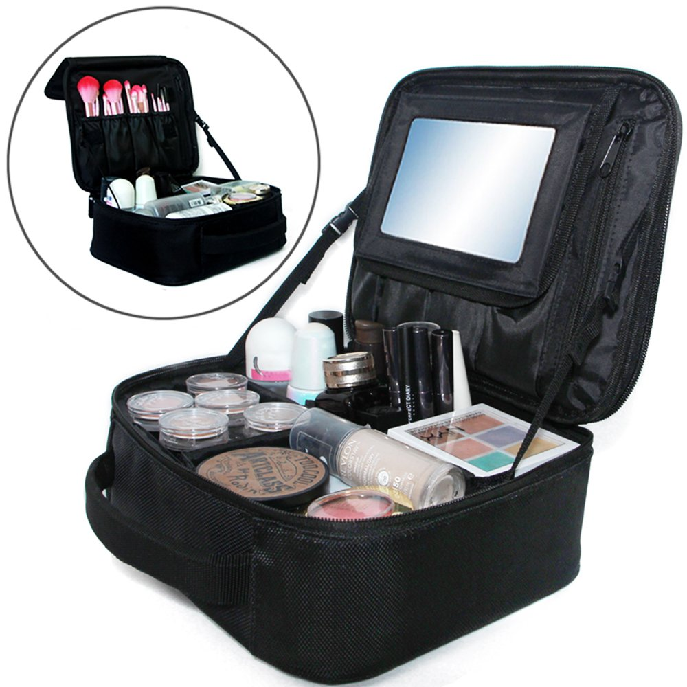 Travel Makeup Bag with Big Mirror Portable Cosmetic Case 10 Waterproof Makeup Train Case Brushes Toiletry Jewelry Digital accessories Black