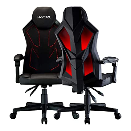 UOMAX Gaming Chairs, Ergonomic Computer Chair for Gamers, Reclining Racing Chair with LED Lights, Armrests and Lumbar Cushion.(Black red)
