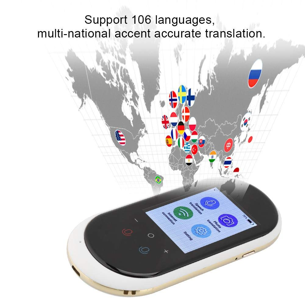 etc. Black Travel Smart Translator 2.4inch Touch Screen WIFI Real-time Multi Language Voice Translator Support 106 Languages Portable Photo translation Device for Learning Shopping