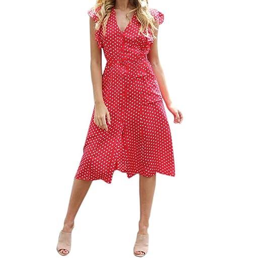Sunsee Women Dot Print Dress Tank Maxi Dress Sleeveless Casual