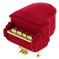 SODIAL Regalo di nozze del tesoro dei gioielli del pendente dell'orecchino del contenitore di anello del pianoforte del velluto