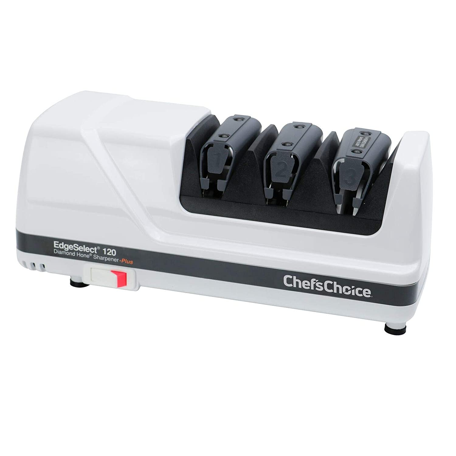 B00004S1B8 Chef'sChoice 120 Diamond Hone EdgeSelect Professional Electric Knife Sharpener for 20-Degree Edges Diamond Abrasives Precision Guides for Straight and Serrated Knives Made in USA, 3-Stage, White 61bvGkx22B1L._SL1500_