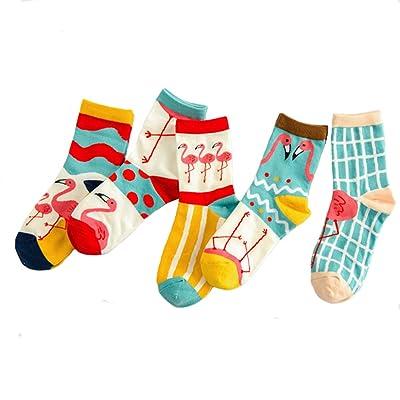 4 Pairs Women's Fun Casual Cotton Crew Socks: Clothing