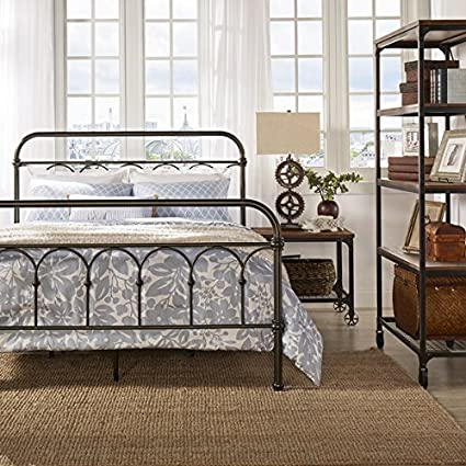 Vintage Metal Bed Frame Antique Rustic Dark Bronze Cast Knot Headboard Footboard Retro Country Bedroom Furniture