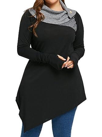 33a87634c67 Sibylla Women s Plus Size Striped Turtleneck Thumb Hole Asymmetrical Hem  Tunic Top T Shirt Blouse (