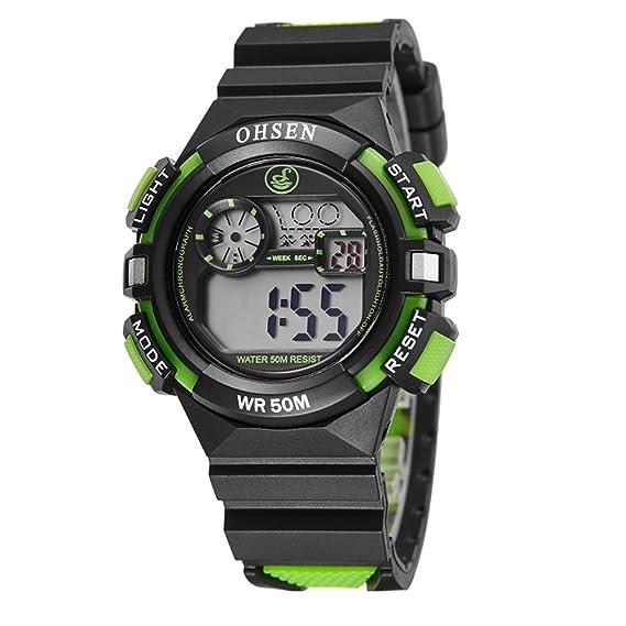 relojes digitales de moda fresco del deporte al aire libre para adolescentes llevado de múltiples correa de caucho negro luz para los niños: Amazon.es: ...