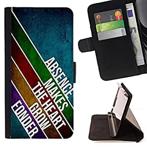 DEVIL CASE - FOR Samsung Galaxy S6 EDGE - Absence Love Heart Lines Design Modern Message - Style PU Leather Case Wallet Flip Stand Flap Closure Cover