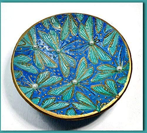 Dragonfly Pearl Ring Dish-Trinket Dish- Polymer Clay Dish- Gifts for Her Birthday Engagement Moroccan Ring Dish ()