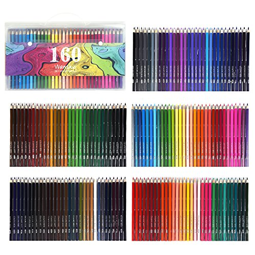 160 Colored Pencils - Vibrant Colors Pre-Sharpened Colored Pencils Set for Adult Coloring Books Artist Drawing Sketching Crafting by Wanshui