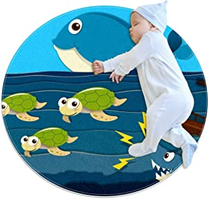 "Shark Attack Ship Sea Turtle Whale Octopus Round Rug Baby Crawling Non-Slip Mats Child Activity Play Mat for Bedroom Playroom Home Decor (Diameter 27.6"")"
