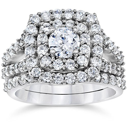 (Cushion Halo 14k White Gold 1.18ct Round Cut Diamond Women Engagement Wedding Anniversary Ring Set,All US Size 4-12 Available.)