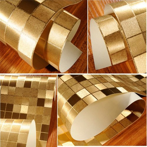 QIHANG Luxury Gold Foil Big Mosaic Background Flicker Wall Paper Modern Roll/hotel Ceiling/decorative Wallpaper Roll Gold&yellow Colour(90401) by QIHANG (Image #5)