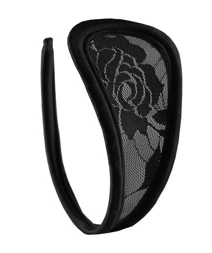 Damen C-String Spitze Schwarz Mini Bikini Dessous Slip Einheitsgröße S/M/L