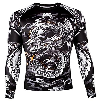 Venum Men's Dragon's Flight Long Sleeve Rash Guard MMA BJJ Black/White