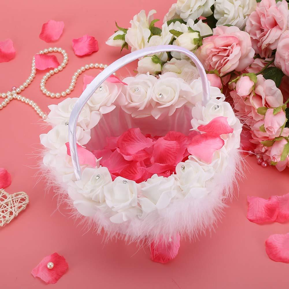 WYANG Blumenm/ädchen Korb romantische Strass Hochzeit Candy Lace Decor Supplies f/ür Hochzeit