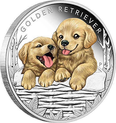 2018 TV Puppies Perth PowerCoin GOLDEN RETRIEVER Dog Puppies Silver Coin 50 Cents Tuvalu 2018 Proof by Power Coin