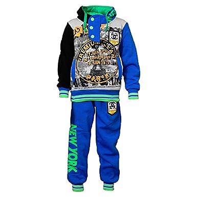 7f1786b19 SKYLINEWEARS Kids Boys Sweatsuit Tracksuit Hooded Two Piece Set Eifel Blue 4