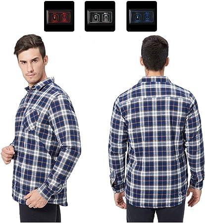 HotWinter Camisas de Invierno para Hombres Chaquetas Camisa a Cuadros de Manga Larga, Camisa de algodón Caliente con calefacción eléctrica, para Escalar en la Oficina Escalar White-M: Amazon.es: Hogar