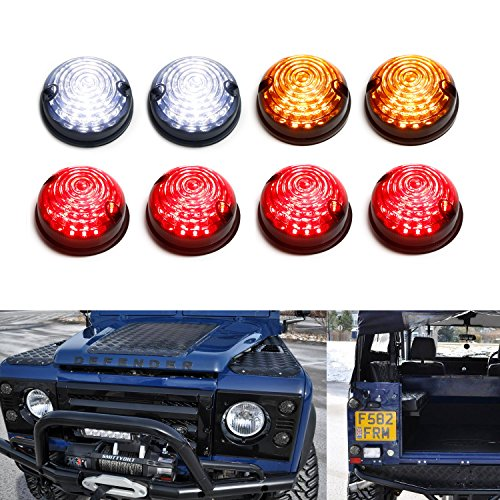 iJDMTOY (8) Smoked Lens Full LED Kit (Front & Rear Turn Signal, Parking Driving & Brake Tail Light Assembiles) For Land Rover Defender, Series 2 & 3