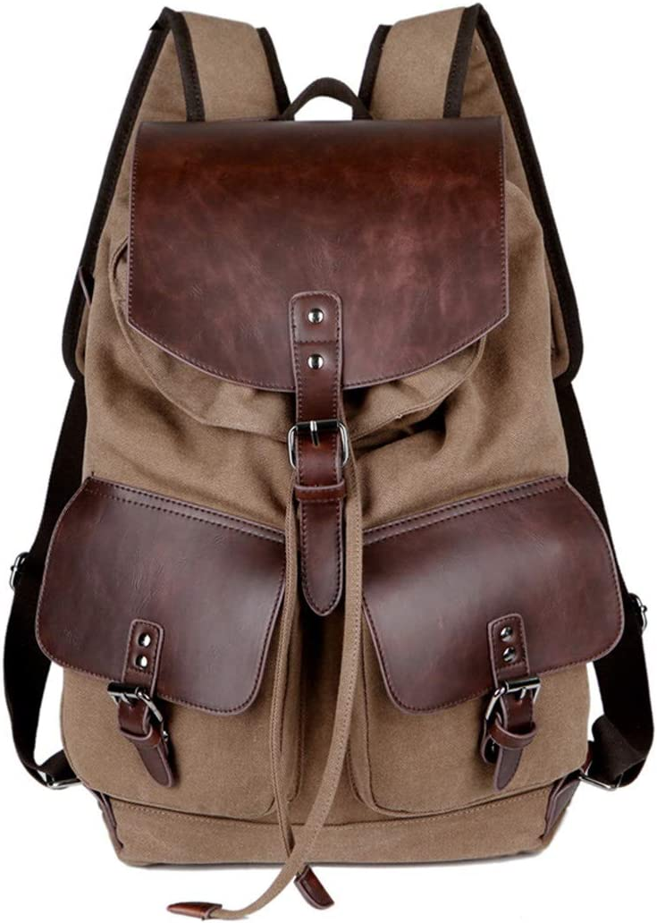 Canvas Men Rucksack Casual Coffee Male Backpacks Leisure Retro Mens Travel Shoulder Bags Pack Khaki L31W14H43