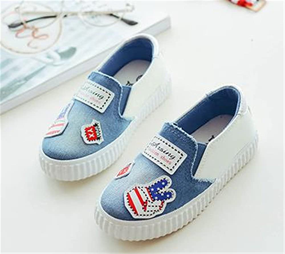 Kids Canvas Round Toe Slip on Flat Sneaker Oxford Boat Shoes