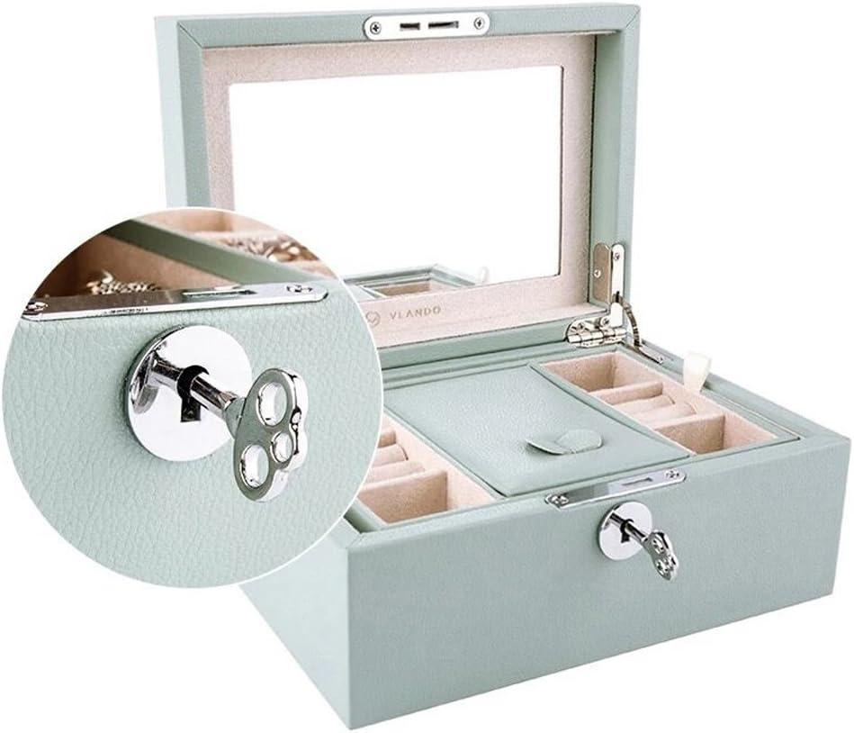 Vlando Retro Lockable Wooden Jewelry Box Organizer, Large Mirrored Jewelries Storage Holder with Key - Microfiber PU Leather Case - Best Gifts for Women Girls, Aqua Green