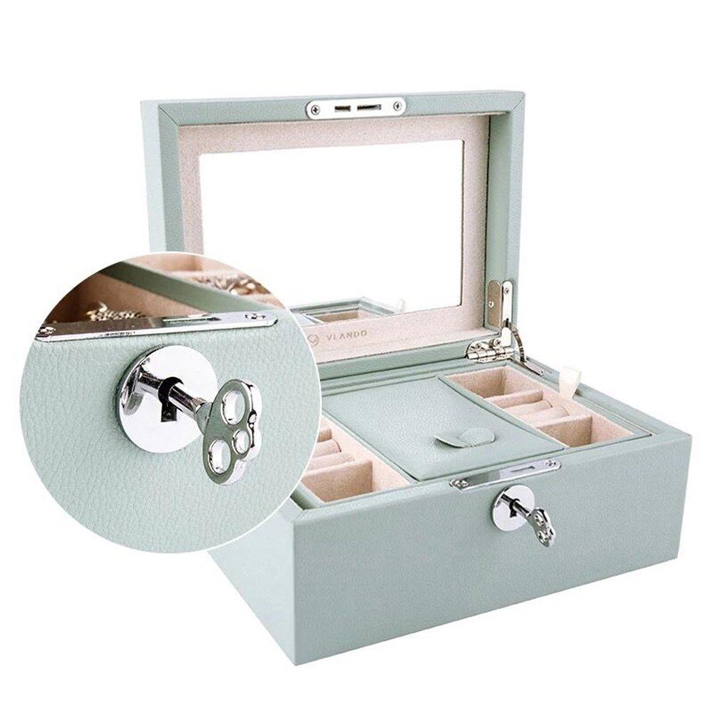 Vlando Retro Lockable Wooden Jewelry Box Organizer w/Large Mirror & Key - Microfiber PU Leather Case - Best Gifts for Women Girls - Aqua Green