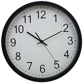 Hemara - Reloj de pared silencioso de 30,48 cm, negro, 32 x 31 x 5.4 cm: Amazon.es: Hogar
