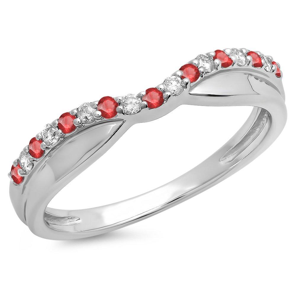 18K White Gold Round Ruby & White Diamond Ladies Wedding Stackable Contour Guard Band (Size 4)