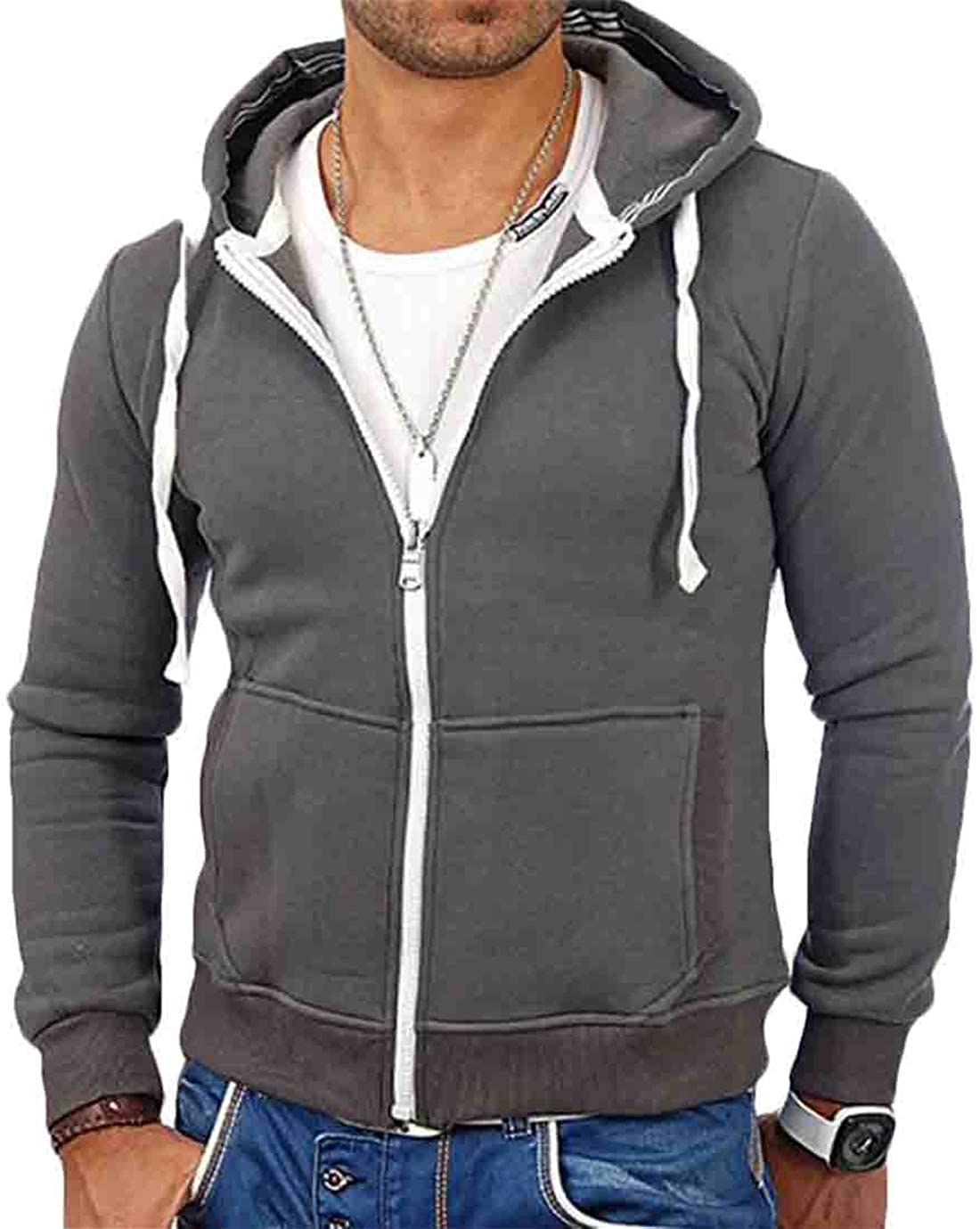 Hurrg Men Hooded Autumn Pocket Drawstring Solid Patchwork Jackets Sweatshirt
