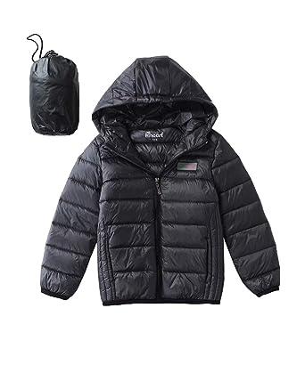 713378d37 Hiheart Boys Girls Ultralight Hooded Puffer Jacket Winter Down Coat