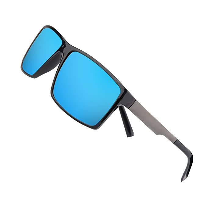 442989ec2f4 Polarized Sunglasses for men Women Driving Fishing Vintage Unisex Sun  Glasses (Blue)