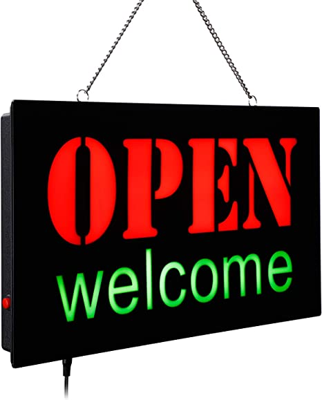 """TORCHSTAR LED Welcome /& Open Sign Light Adjustable Lighting Mode On//Off Switch Highly Visible Bright Neon Style Bar Neon Sign Open 16.9/"""" x 9.1/"""" Rectangle Store Salon Restaurant Gas Station"""