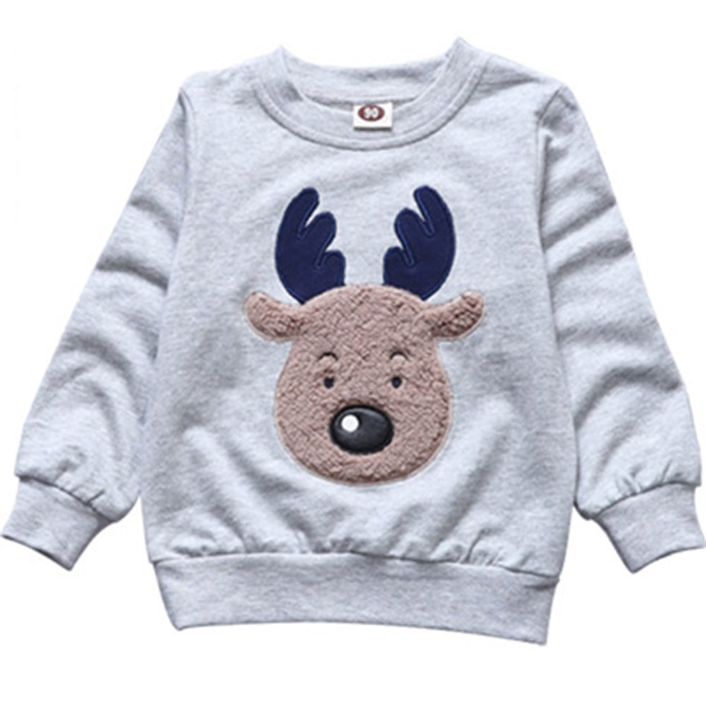 Boys Girls Pullover Reindeer Crewneck Cotton Lined Embroidery Sweatshirt