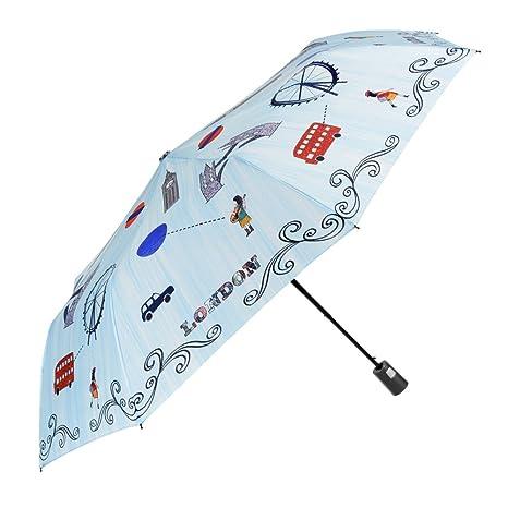 Paraguas Plegable Mujer - Mini Paraguas Automatico - con Estampado Londres - Resistente Compacto y Antiviento