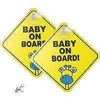 Kaitein セーフティーサイン 車用 BABY ON BOARD 吸盤式 内貼り 2枚セット