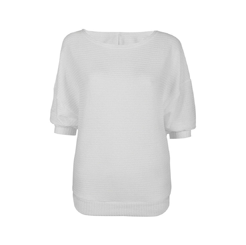 Donna Maglia Maniche a Pipistrello Tre Quarti Eleganti Maglioni Sciolto Maglieria Autunno Inverno T-Shirt Scollo Barchetta Sweater Pullover Knit Top Casual Puro Colore Bluse Magliette Tinta Unita