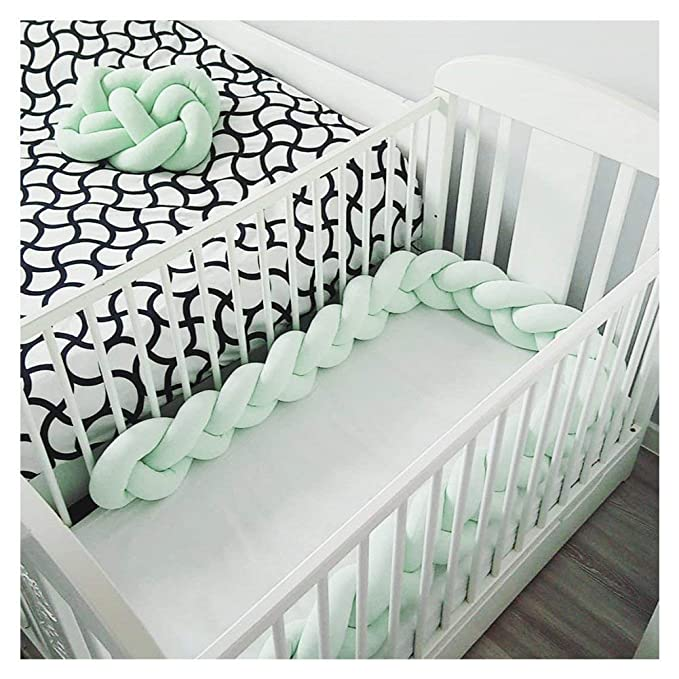 Cot Bumper Braid Pillow Baby Head Guard Bumper Knot Braid Pillow Cushion for Baby Bed Color : Beige+White+Khaki+RED, Size : 7.2Fe