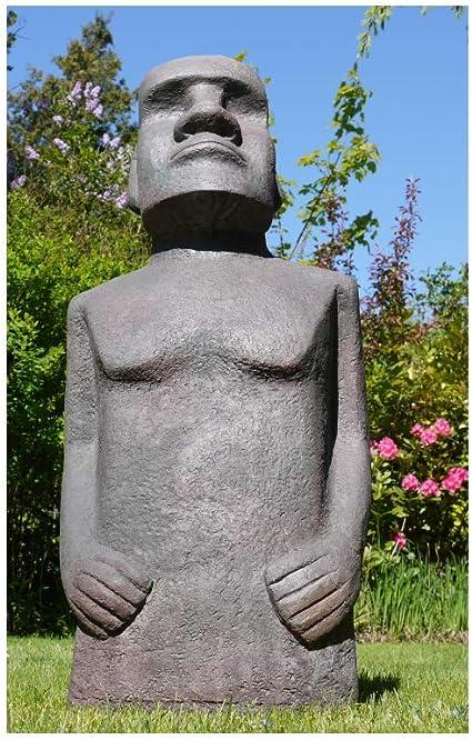 Marrón & Ginger 110 cm de altura Isla de Pascua Moai Man MGO Escultura de jardín efecto piedra moteada gris/verde/marrón: Amazon.es: Jardín