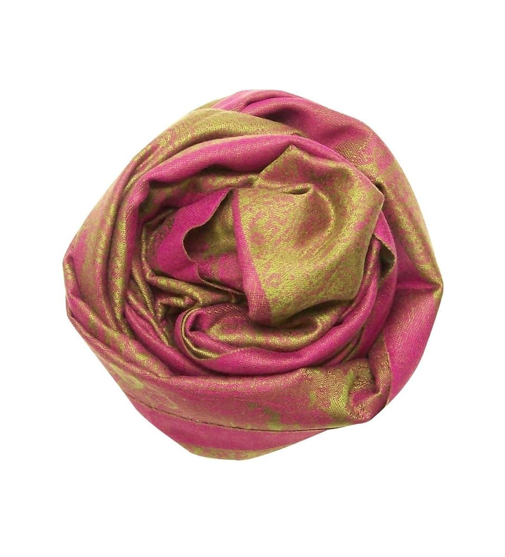Blue Pacific Paris Cashmere & Silk Scarf Dark Pink & Sage Green Paisley