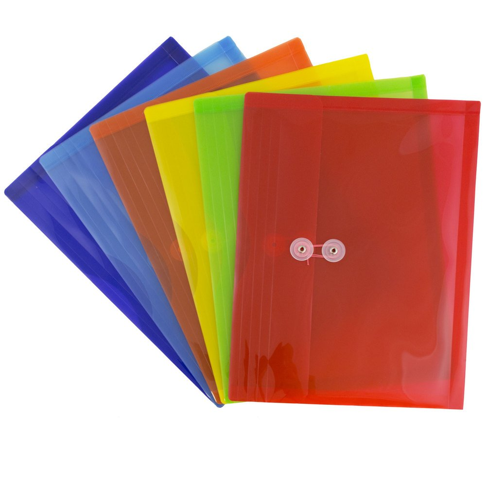 JAM Paper Plastic Envelope with Button and String Tie Closure - Letter Booklet - 9 3/4'' x 13'' - Assorted - 6/pack by JAM Paper (Image #4)