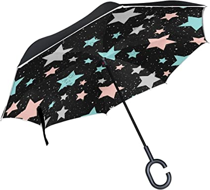 Reverse Umbrella Double Layer Inverted Umbrellas For Car Rain Outdoor With C-Shaped Handle Stylish White Marble Personalized