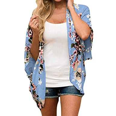 7e11e1979c0 YONHEE Women Chiffon Loose Shawl - Floral Cover Up Chiffon Print Kimono  Beachwear Boho Summer Casual