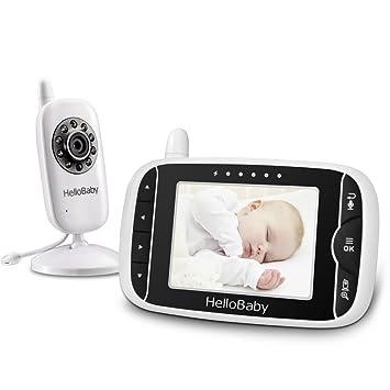 HB32 Supervisi/ón de la Temperatura de la Visi/ón Nocturna y Sistema de la Manera 2 Talkback HelloBaby Monitor Video sin Hilos del Beb/é de con la C/ámara de Digitaces