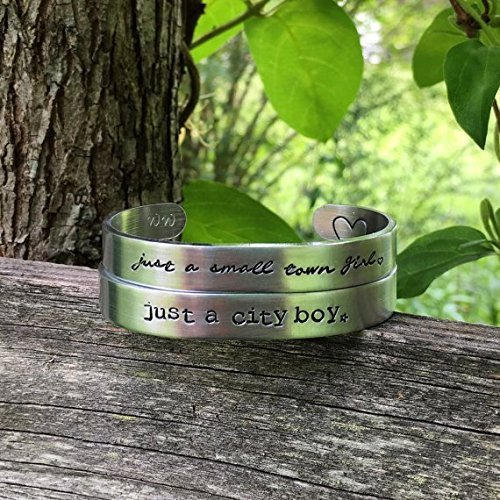 Journey inspired | don't stop believin' | his and her bracelet set | unique couples gift| just a small town girl | just a city boy