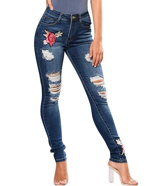8a56d29993 ZhuiKun Mujer Cintura Alta Bordado Pantalones Jeans Elástico Flacos  Vaqueros Leggings Mezclilla Pantalones  Amazon.es  Ropa y accesorios