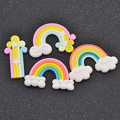 NPLE--4 Pcs DIY Soft Rainbow Cake Topper Plastic Decoration Wedding Party Birthday