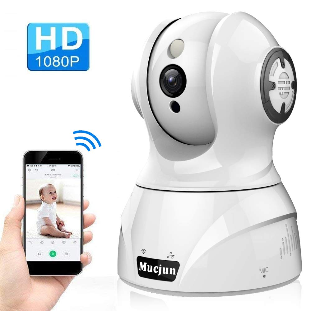Security Wireless IP Camera, Mucjun HD 1080p WiFi Home Surveillance Camera Baby Monitor for Nanny/Elder/Pet, 2 Way Audio Night Vision Motion Detection Alert, Pan/Tilt/Zoom Remote -Work with Alexa