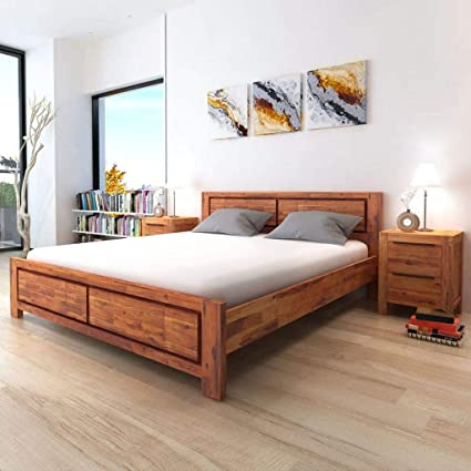 Amazon.com: Brown Double Bed Frame with Nightstands Solid ...