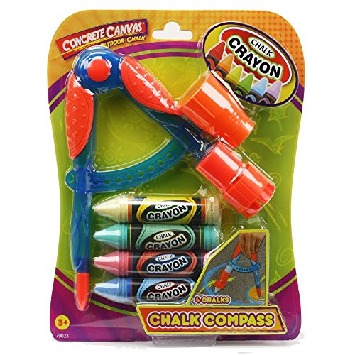 Concrete Canvas Outdoor Chalk - Chalk Compass with Sharpener - 4 Chalk Colors - Boys and Girls - Ages 3+ - 79023